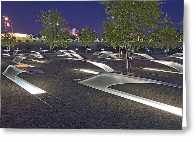 Pentagon Greeting Cards - Pentagon Memorial to those killed on September 11 2001 Greeting Card by Brendan Reals