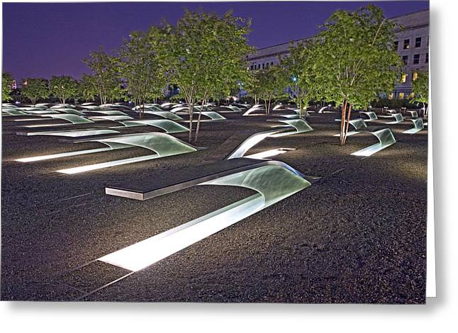 Pentagon Memorial To Victims Of September 11  Greeting Card by Brendan Reals