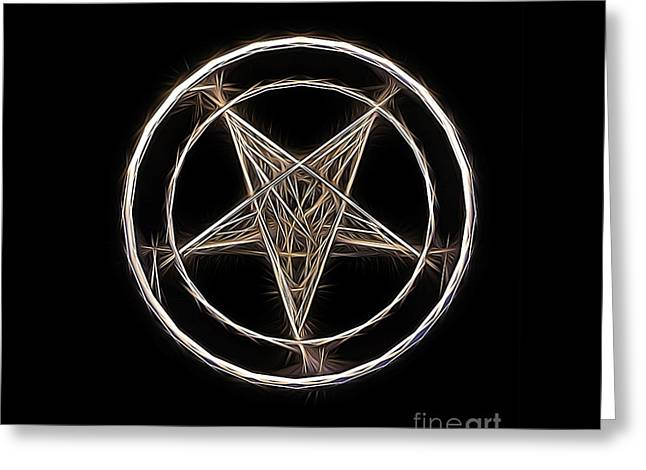 Pentagram Symbol By Raphael Terra Greeting Card by Raphael Terra
