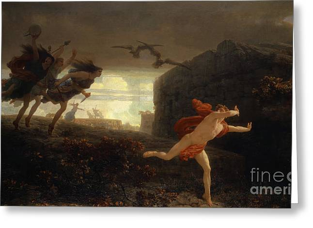Pentheus Pursued By The Maenads Greeting Card