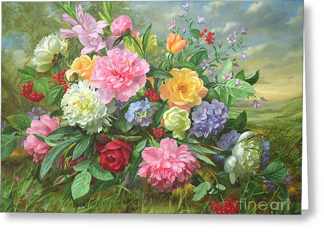 Peonies And Hydrangea Greeting Card