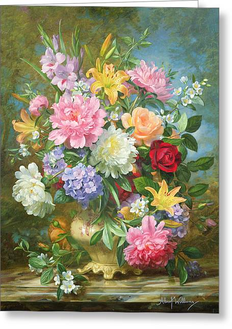 Peonies And Mixed Flowers Greeting Card by Albert Williams