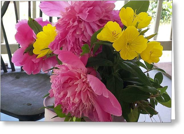 Peonies And Primroses Greeting Card