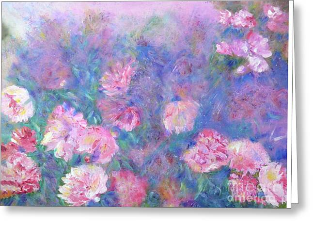 Peonies Greeting Card by Claire Bull