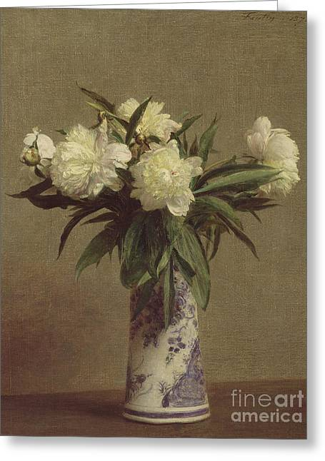 Peonies In A Blue And White Vase Greeting Card by Ignace Henri Jean Fantin-Latour