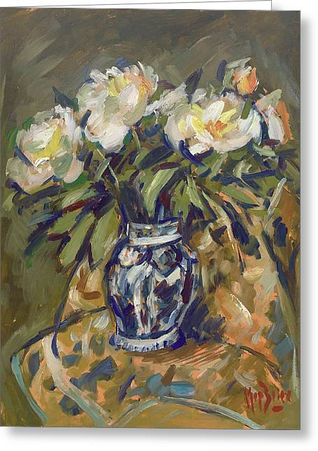 Peonies In Delft Blue Vase On Quilt Greeting Card