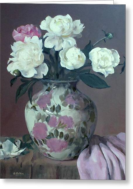 One Pink And Four White Peonies, Lavender Cloth  Greeting Card