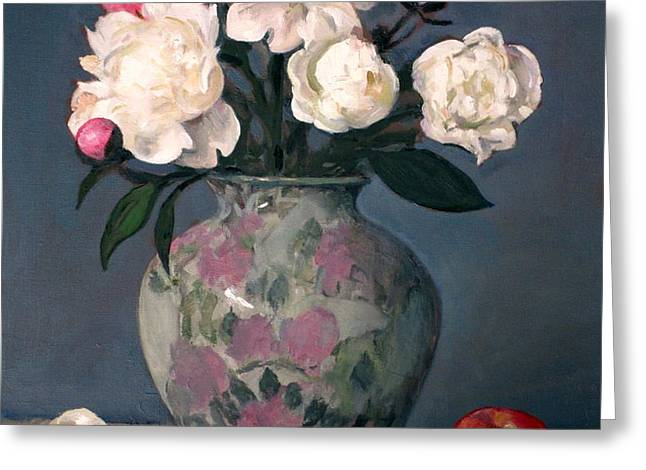 Peonies In Floral Vase With Red Apple Greeting Card