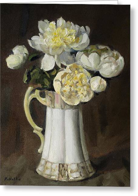 Peonies In Fluted Japanese Coffeepot Greeting Card