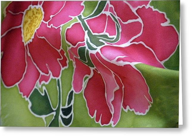 Abstract Tapestries - Textiles Greeting Cards - Peonies in the Garden Greeting Card by Joanna White
