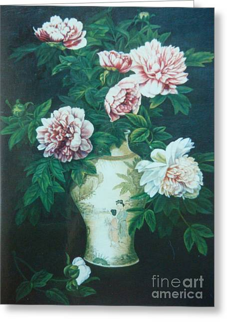 Peonies In Vase Greeting Card by Tierong Fu