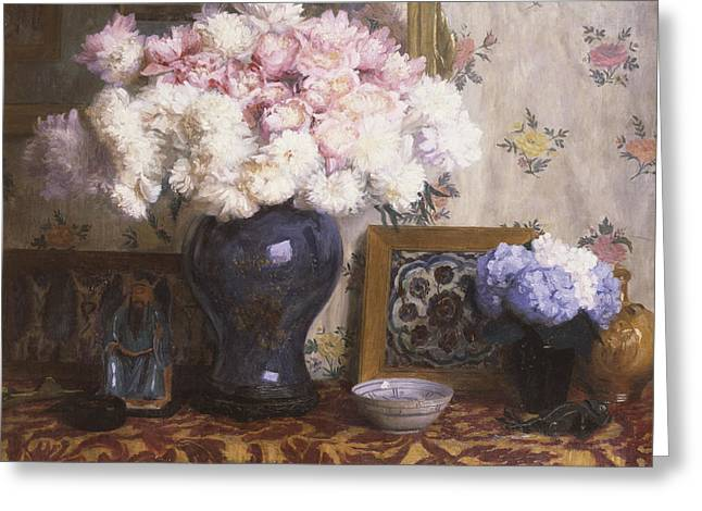 Peonies Greeting Card by Mary E Wheeler