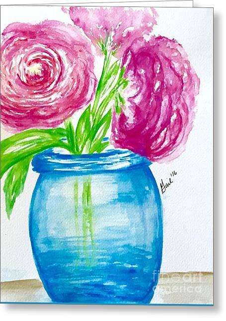 Peonies Mason Jar Greeting Card by Gail Nandlal