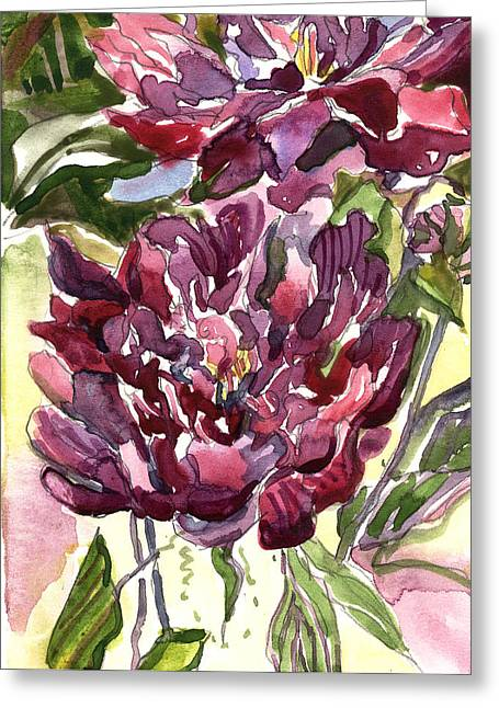 Red Wine Greeting Cards - Peonies Greeting Card by Mindy Newman