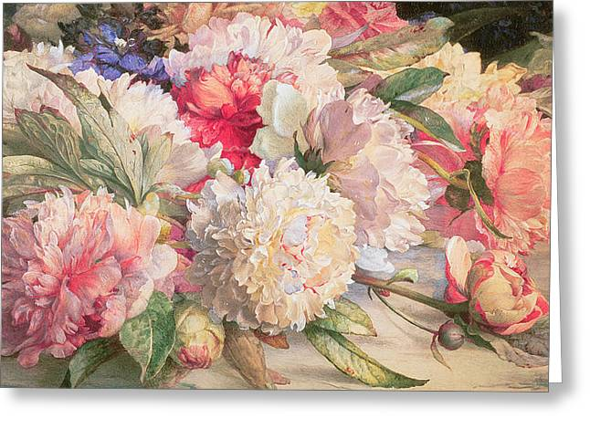 Peonies Greeting Card by William Jabez Muckley