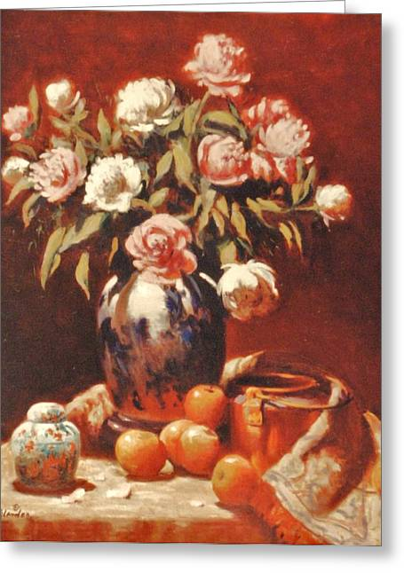 Peonies With Ginger Jar Greeting Card by David Olander