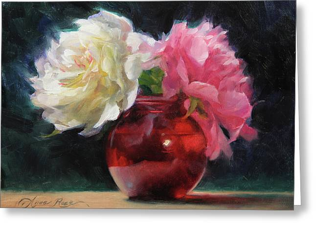 Peonies With Red Vase Greeting Card