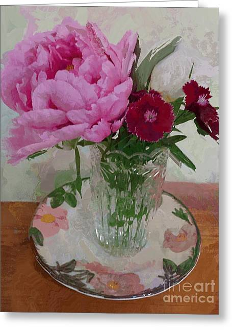 Peonies With Sweet Williams Greeting Card by Alexis Rotella