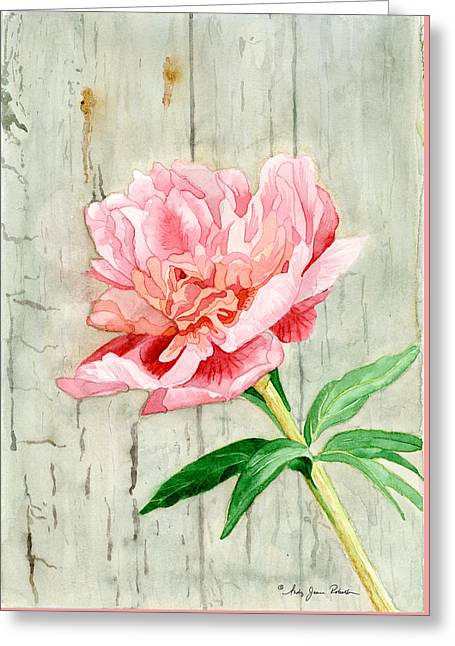 Peony At The Fence Greeting Card