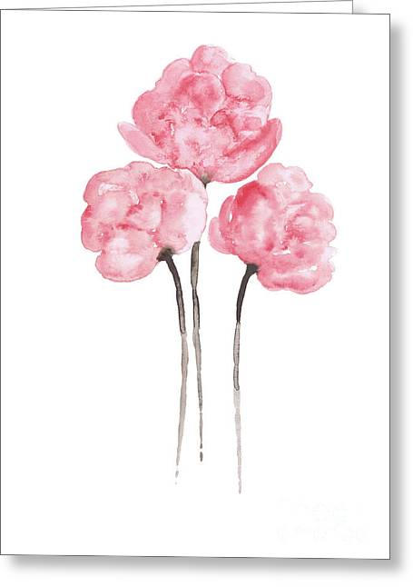 Peony Bouquet Anniversary Woman Art Print, Pink Paper Flower Watercolor Painting Greeting Card