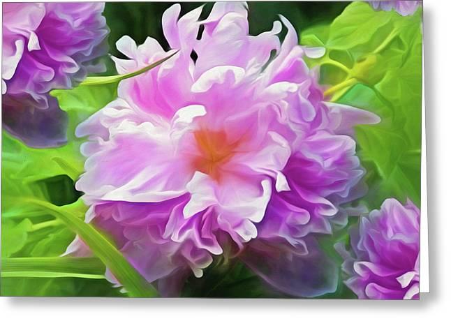 Greeting Card featuring the mixed media Peony Cluster 7 by Lynda Lehmann