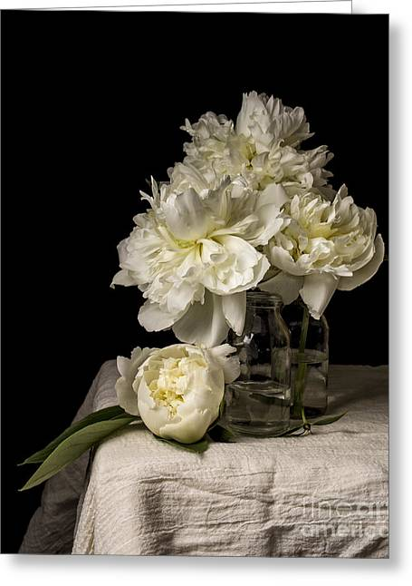 Peony Flowers Greeting Card by Edward Fielding