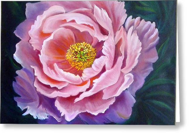 Peony Greeting Card by Janet Silkoff