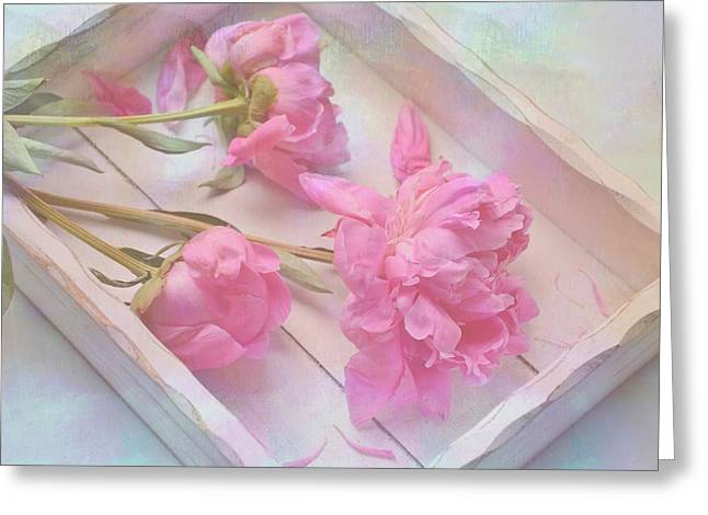 Greeting Card featuring the photograph Peonies In White Box by Diane Alexander