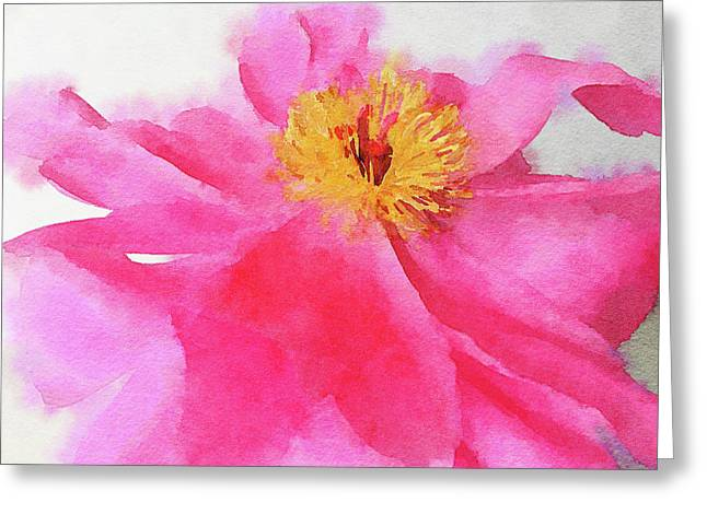 Greeting Card featuring the digital art Peony by Mark Greenberg