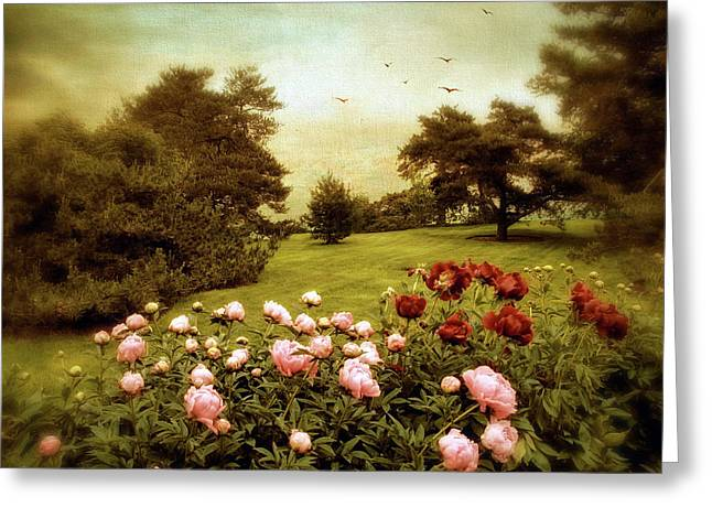 Peony Park Greeting Card by Jessica Jenney
