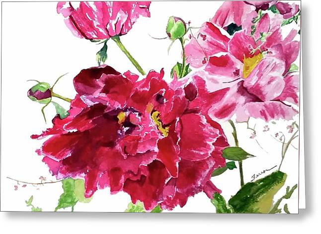 Greeting Card featuring the painting Peony by Patti Ferron