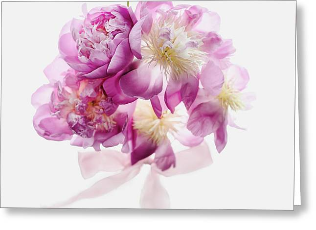 Greeting Card featuring the photograph Peony Pink Squared by Rebecca Cozart