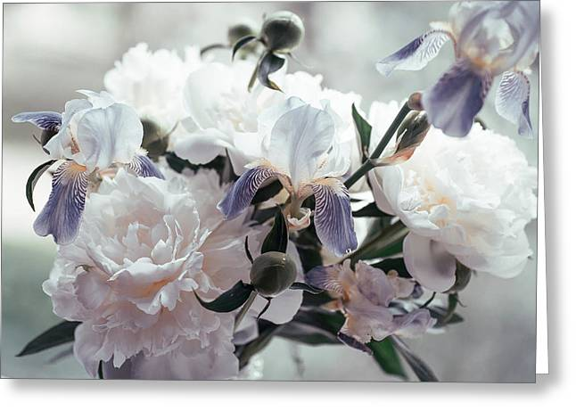 Greeting Card featuring the photograph Peony Romance by Jenny Rainbow