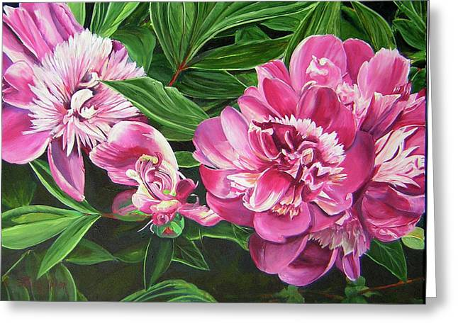Peony Trilogy Greeting Card