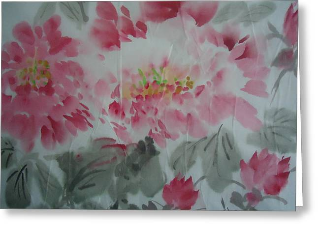 Peony5 Greeting Card by Dongling Sun