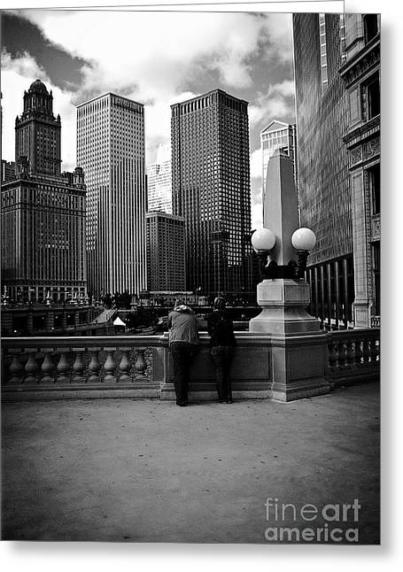 People And Skyscrapers Greeting Card