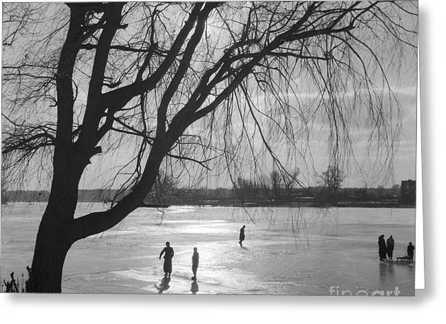People Ice Skating On A Frozen Over Lake Greeting Card by German School