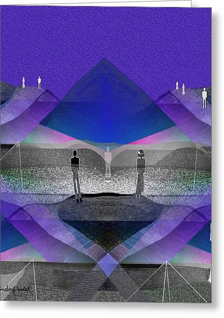 People In Landscape - 209 Greeting Card by Irmgard Schoendorf Welch