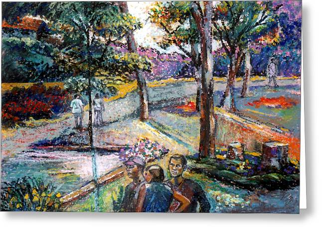 Original work Pastels Greeting Cards - People In Landscape Greeting Card by Stan Esson