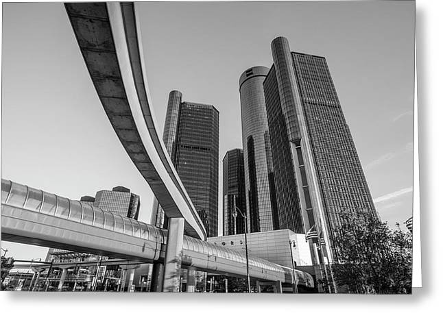 People Mover And Reniassance Ceter Detroit Greeting Card by John McGraw