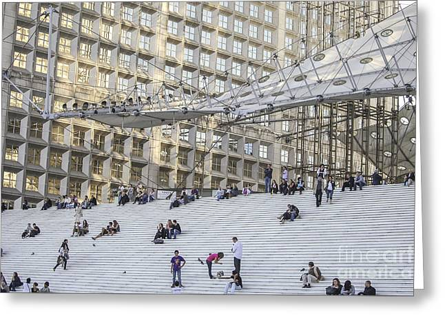 People On La Grande Arche In Paris Greeting Card by Patricia Hofmeester