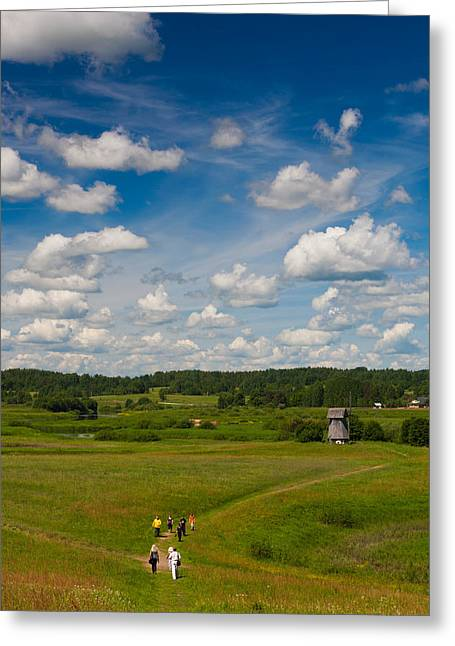 People On Landscape At Mikhailovskoye Greeting Card by Panoramic Images