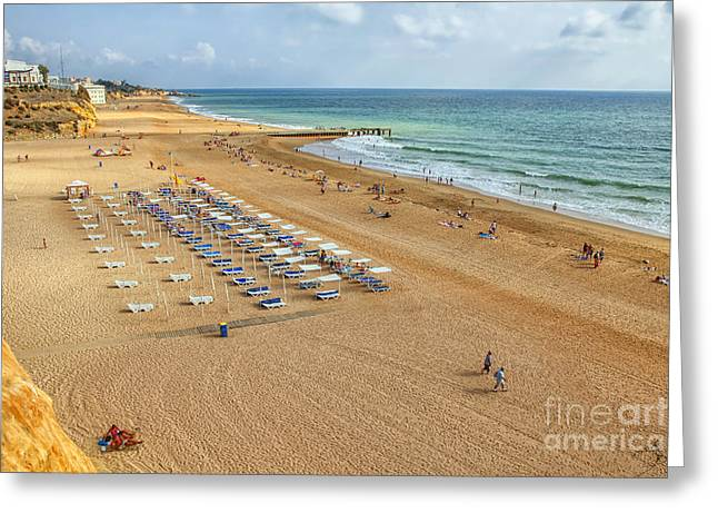 People On The Beach Of Albufeira In Portugal Greeting Card