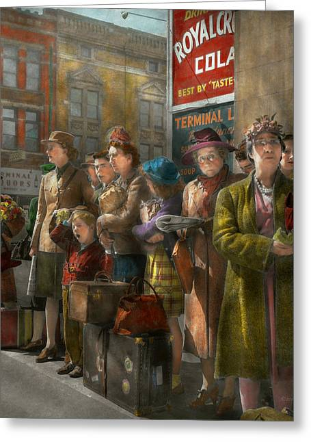 People - People Waiting For The Bus - 1943 Greeting Card by Mike Savad