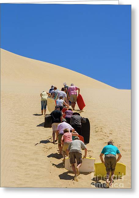 People Pushing Sandboards Up The Dune Greeting Card by Patricia Hofmeester
