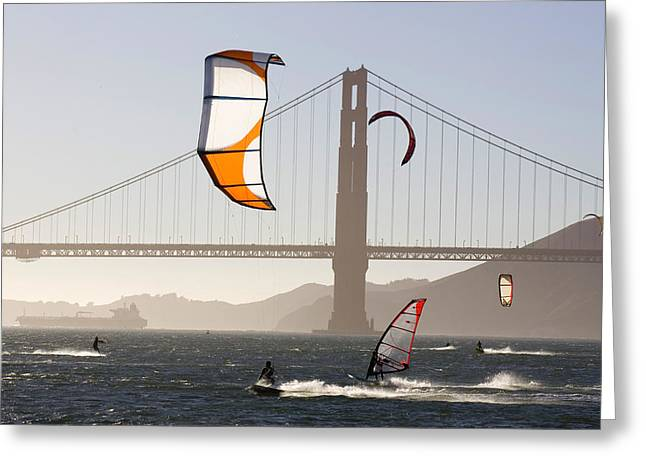 People Wind Surfing And Kitebording Greeting Card by Skip Brown