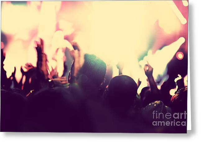 People With Hands Up In Night Club Greeting Card by Michal Bednarek