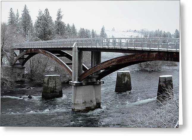People's Park Bridge - Spokane River Greeting Card by Daniel Hagerman