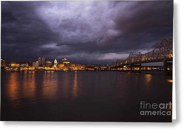Peoria Dramatic Skyline Greeting Card by Andrea Silies