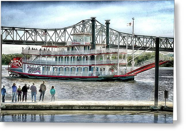 Peoria River Boat In September Greeting Card by Thomas Woolworth